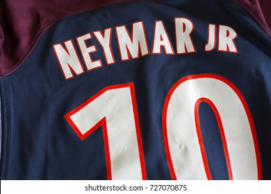 ZAGREB, CROATIA - OCTOBER 03, 2017. - Neymar da Silva Santos Júnior player of french football club Paris Saint-Germain jersey.