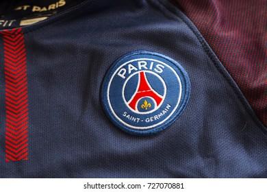 ZAGREB, CROATIA - OCTOBER 03, 2017. - French football club Paris Saint-Germain emblem on jersey.