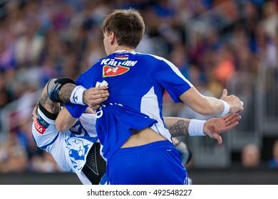 ZAGREB, CROATIA - OCTOBER 1, 2016: EHF Men's Champions League 2016-17, Group (B) phase. HC Zagreb PPD VS HC MOL-Pick Szeged.
