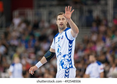 ZAGREB, CROATIA - OCTOBER 1, 2016: EHF Men's Champions League 2016-17, Group (B) phase. HC Zagreb PPD VS HC MOL-Pick Szeged. Igor VORI (10)
