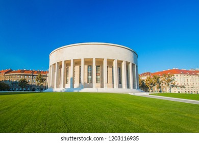 ZAGREB, CROATIA – October 10, 2018: Monumental art gallery and fountain in center of Croatian capital