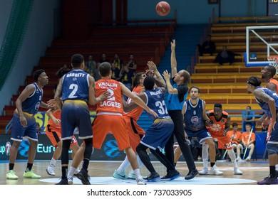 ZAGREB, CROATIA - OCTOBER 11, 2017: 7DAYS EuroCup KK Cedevita Zagreb vs.  FIAT Torino Auxilium. Referee throwing the ball.