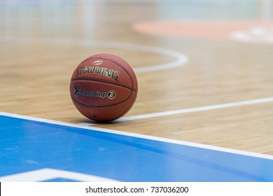 ZAGREB, CROATIA - OCTOBER 11, 2017: 7DAYS EuroCup KK Cedevita Zagreb vs.  FIAT Torino Auxilium. Oficial Spalding EuroCup basketball