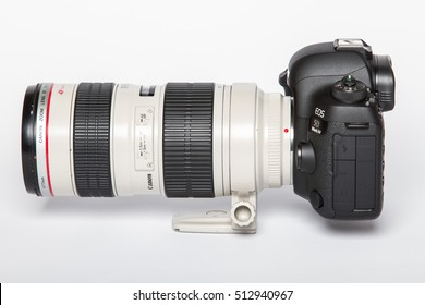 ZAGREB, CROATIA - October 14, 2016: Canon 5D Mark IV camera with Canon EF 70-200mm f/2.8L II USM lens on a white background. Canon is the world largest SLR camera manufacturer.