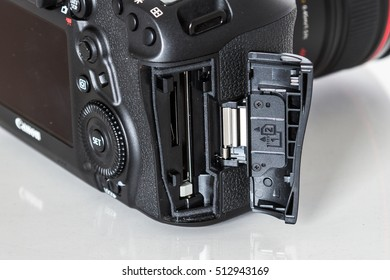 ZAGREB, CROATIA - October 14,2016: Canon 5D Mark IV camera with 24-70mm f/2.8L IS USM lens on a white background. Canon is the world largest DSLR camera manufacturer.