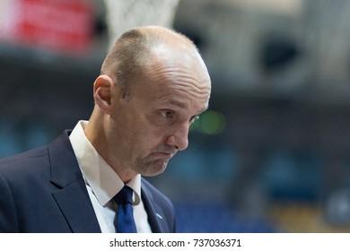 ZAGREB, CROATIA - OCTOBER 15, 2017: ABA league KK Cibona Zagreb vs. KK Cedevita. Jurij Zdovc (Coach)