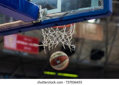 ZAGREB, CROATIA - OCTOBER 15, 2017: ABA league KK Cibona Zagreb vs. KK Cedevita. Ball fell through basket, score