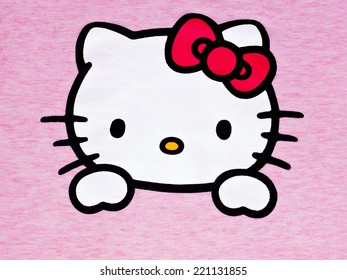 ZAGREB , CROATIA - OCTOBER 1st , 2014 :  Hello kitty children fictional cartoon character head printed on textile  ,product shot