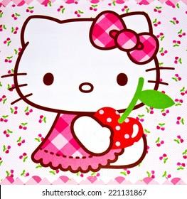 ZAGREB , CROATIA - OCTOBER 1st , 2014 :  Hello kitty children cartoon character head printed on box  ,product shot