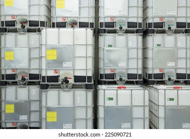 ZAGREB. CROATIA - OCTOBER 20, 2014: IBC containers in warehouse. Containers are FDA approved for food contact.