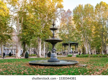 Zagreb, Croatia, October 2017: A small fountain and outdoor arbour in Zrinjevac park and square