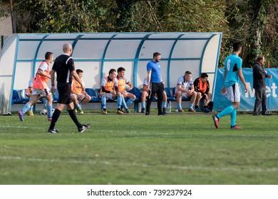 ZAGREB, CROATIA - OCTOBER 21, 2017: 2. Zagreb league NK Ravnice vs. NK Prigorje. Players on the bench