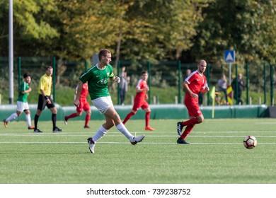ZAGREB, CROATIA - OCTOBER 21, 2017: Third Croatian Football League NK Maksimir vs. NK Spansko. Players in action on soccer field