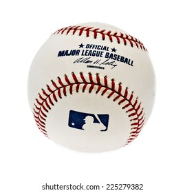 ZAGREB , CROATIA - OCTOBER 22 , 2014 :  MLB , usa baseball official ball  on white background, product shot