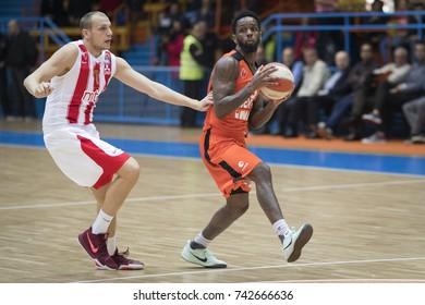 ZAGREB, CROATIA - OCTOBER 22, 2017: ABA League 2017/2018, Round 5 - Cedevita VS Crvena zvezda. Kevin MURPHY (55) and Dejan DAVIDOVAC (7)