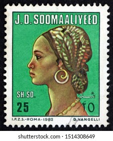 ZAGREB, CROATIA - OCTOBER 22, 2019: a stamp printed in Somalia shows Somali woman, circa 1982