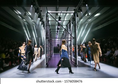 Zagreb, Croatia - October 24, 2019 : A model wearing Klisab fashion collection on the catwalk at the Bipa Fashion.hr fashion show in Zagreb, Croatia.