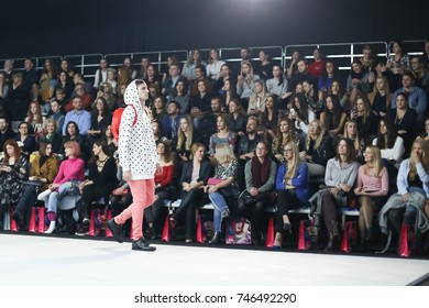 ZAGREB, CROATIA - OCTOBER 25, 2017 : Fashion model wearing clothes for autumn - winter, designed by Anthony Avangard on the Bipa Fashion.hr fashion show in Zagreb, Croatia.