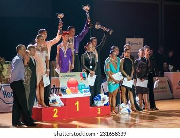 ZAGREB, CROATIA - OCTOBER 26, 2008: Tatsiana Latvinovich and Zoran Plohl, winners of  ballroom dancing tournament DSF Open Adults dm Grand Prix 2008.