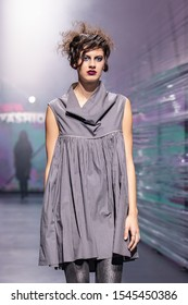 ZAGREB, CROATIA - OCTOBER 26, 2019: Fashion model wears clothes designed by famous Croatian designer Marina Design at the 'Fashion.hr' fashion show