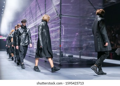 Zagreb, Croatia - October 26, 2019 : A model wearing Spirit by T.B fashion collection on the catwalk at the Bipa Fashion.hr fashion show in Zagreb, Croatia.