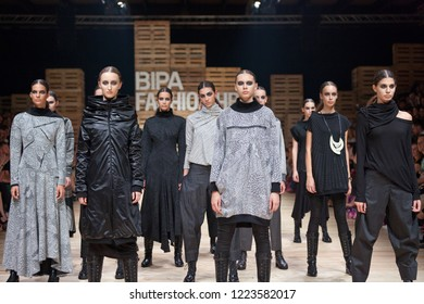 ZAGREB, CROATIA - OCTOBER 27, 2018: Fashion models wear fall-winter collection, designed by famous Croatian designer Marina Design at the 'Fashion.hr' fashion show