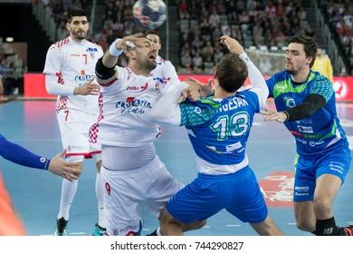 ZAGREB, CROATIA - OCTOBER 28, 2017:  Friendly handball game between National representation of Croatia and Slovenia. Igor VORI (9) shoots at the goal