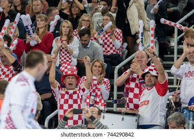 ZAGREB, CROATIA - OCTOBER 28, 2017:  Friendly handball game between National representation of Croatia and Slovenia. Croatian fans in red and white checker shirts