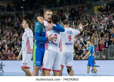 ZAGREB, CROATIA - OCTOBER 28, 2017:  Friendly handball game between National representation of Croatia and Slovenia. Players hugging each other after the game