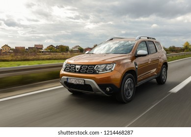 ZAGREB, CROATIA - October 28, 2018: New Dacia Dustar 4x4 on the streets. Blurred background. Car in motion.