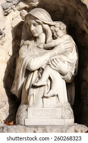 ZAGREB, CROATIA - OCTOBER 28: Madonna with Child, detail of a mourning sculpture on a Mirogoj cemetery in Zagreb, Croatia on October 28, 2012.