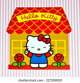 ZAGREB , CROATIA - OCTOBER 31 , 2014 :  children toy character Hello Kitty printed on box ,product shot