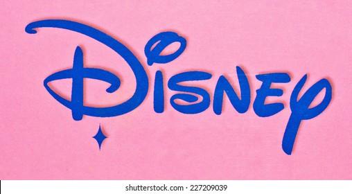 ZAGREB , CROATIA - OCTOBER 31 , 2014 :  Disney logo sign printed on toy box, product shot