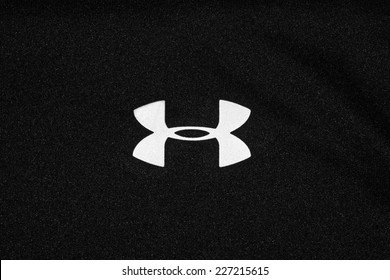 ZAGREB , CROATIA - OCTOBER 31 , 2014 :  under armour logo printed on textile, product shot