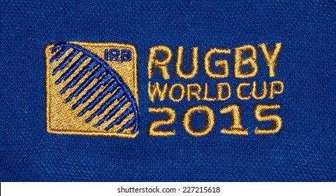 ZAGREB , CROATIA - OCTOBER 31 , 2014 :  Logo for Rugby world cup 2015 printed on textile, product shot