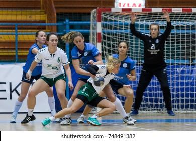 ZAGREB, CROATIA - OCTOBER 31, 2017: First Croatian Handball league Woman Lokomotiva vs. Tresnjevka. Players in action