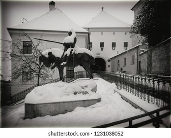 Zagreb, Croatia, Sculpture in front of the Stone Gate on the Upper Town, a horseman with a spear in hand under snow, Black - White Photography, Photographed February 15th 2017.