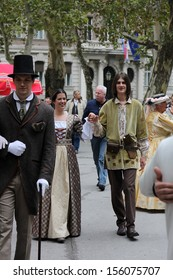 ZAGREB, CROATIA - SEP 28: The event Zagreb Time Machine, there was a promenade of the old city costumes from the 19th century on Sep 28, 2013 in Zagreb, Croatia.