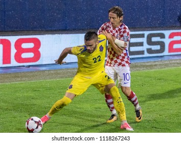 ZAGREB, CROATIA - SEPTEMBER 02, 2017: European qualifier for 2018 FIFA World CUp Russia. Croatia vs Kosovo. Luka MODRIC (10) and  Bajram Jashanica (22) in duel