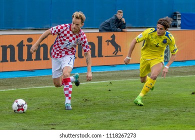ZAGREB, CROATIA - SEPTEMBER 03, 2017: European qualifier for 2018 FIFA World CUp Russia. Croatia vs Kosovo. Ivan RAKITIC (7) with ball