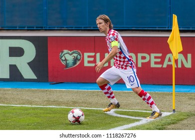 ZAGREB, CROATIA - SEPTEMBER 03, 2017: European qualifier for 2018 FIFA World Cup Russia. Croatia vs Kosovo. Luka MODRIC (10) in action