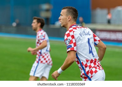 ZAGREB, CROATIA - SEPTEMBER 03, 2017: European qualifier for 2018 FIFA World Cup Russia. Croatia vs Kosovo. Ivan PERISIC (4)