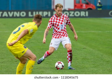 ZAGREB, CROATIA - SEPTEMBER 03, 2017: European qualifier for 2018 FIFA World CUp Russia. Croatia vs Kosovo. Ivan RAKITIC (7)