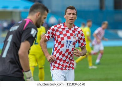 ZAGREB, CROATIA - SEPTEMBER 03, 2017: European qualifier for 2018 FIFA World CUp Russia. Croatia vs Kosovo. Mario MANDZUKIC (17)