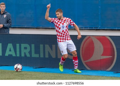 ZAGREB, CROATIA - SEPTEMBER 03, 2017: European qualifier for 2018 FIFA World Cup Russia. Croatia vs Kosovo. Andrej KRAMARIC (9)