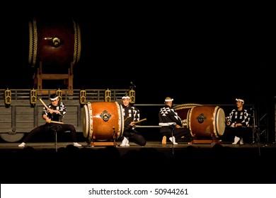 ZAGREB, CROATIA - SEPTEMBER 03: Elite taiko drumming troupe Kodo performing in Zagreb September 03, 2009 Zagreb Croatia