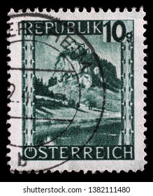 ZAGREB, CROATIA - SEPTEMBER 05, 2014: Stamp printed in Austria shows Hochosterwitz, Carinthia from the series Landscapes, circa 1945.