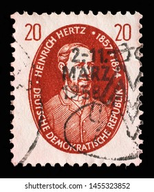ZAGREB, CROATIA - SEPTEMBER 05, 2014: A stamp issued in Germany - Democratic Republic (DDR) shows Heinrich Rudolf Hertz, Famous People serie, circa 1957.