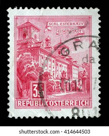 ZAGREB, CROATIA - SEPTEMBER 06: a stamp printed in the Austria shows Esterhazy Palace, Eisenstadt, circa 1962, on September 06, 2014, Zagreb, Croatia