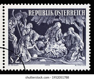 ZAGREB, CROATIA - SEPTEMBER 09, 2014: Stamp printed by Austria, shows Adoration of the Shepherds by Marian Rittinger, Carving from Garsten Vicarage, circa 1970